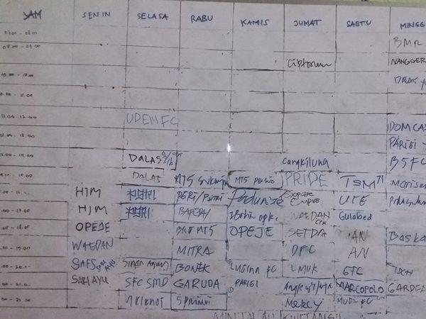 Contoh jadwal sewa (foto: facebook Hafiz Batara?)