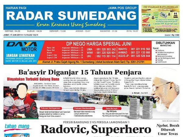 Koran Radar Sumedang (foto: facebook Radar Sumedang)