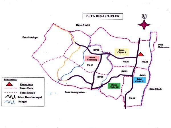 Peta Desa Cijeler (gambar oleh KKNM Unpad Desa Cijeler 2014)