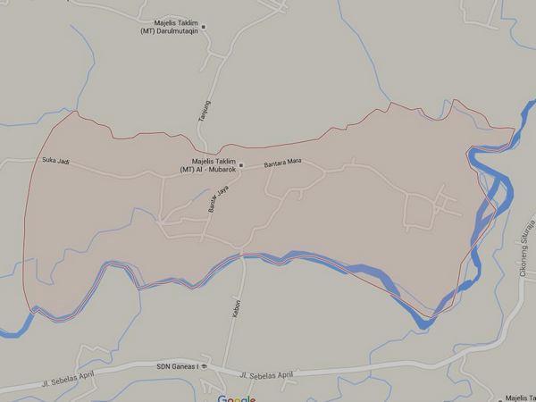 Peta wilayah Desa Bantarmara (gambar: Google Maps)