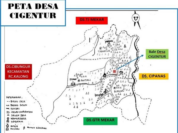Peta wilayah Desa Cigentur (gambar: KKNM Unpad)