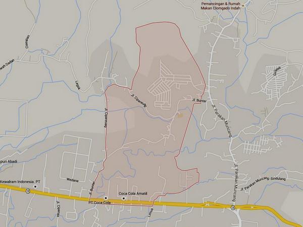 Peta wilayah Desa Cihanjuang (gambar: Google Maps)