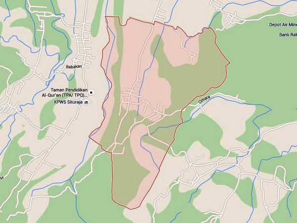 Peta Desa Cikadu (gambar oleh Google Maps)