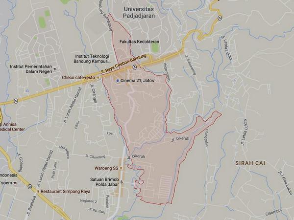 Peta wilayah Desa Cikeruh (gambar: Google Maps)
