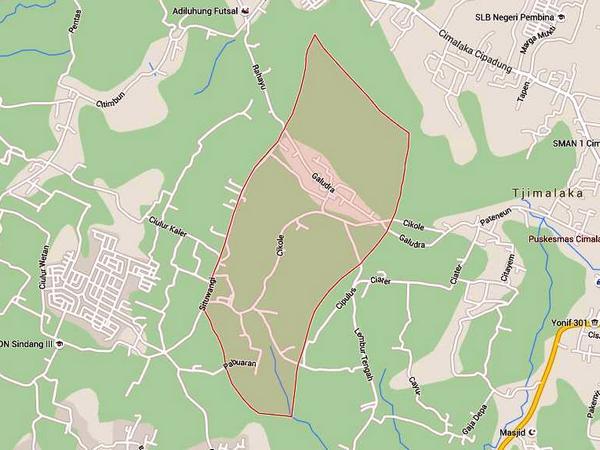 Peta wilayah Desa Cikole (gambar: Google Maps)