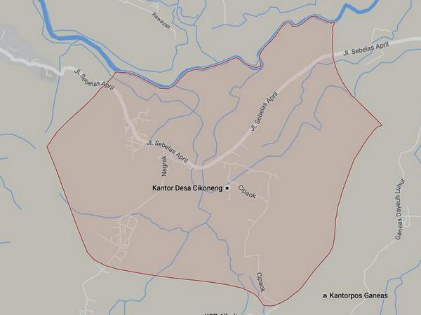 Peta wilayah Desa Cikoneng ketika masih bersatu dengan Desa Cikoneng Kulon (gambar: Google Maps)