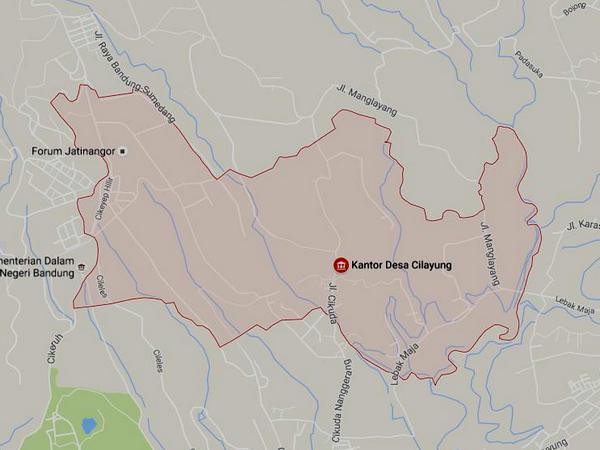 Peta wilayah Desa Cilayung (gambar: Google Maps)
