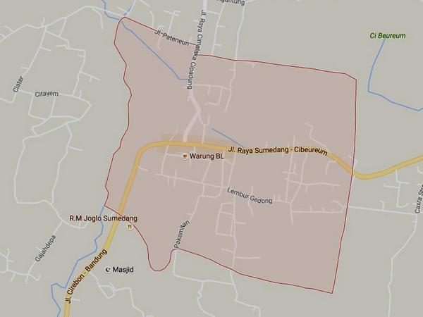 Peta wilayah Desa Cimalaka (gambar: Google Maps)
