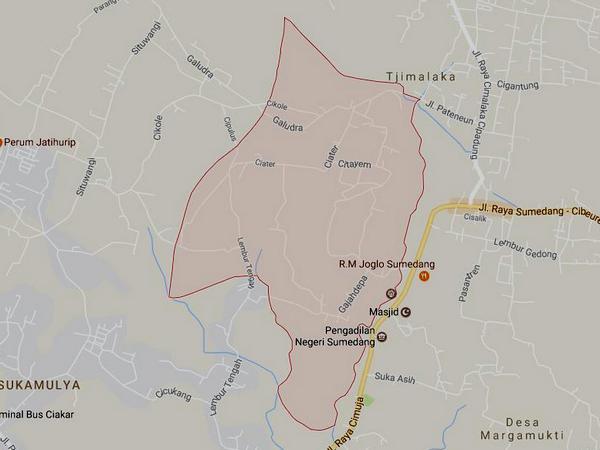 Peta wilayah Desa Galudra (gambar: Google Maps)