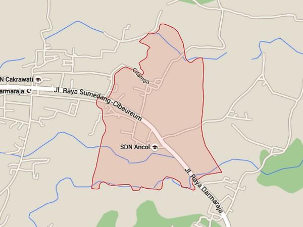 Peta wilayah Desa Jatibungur (gambar oleh Google Maps)