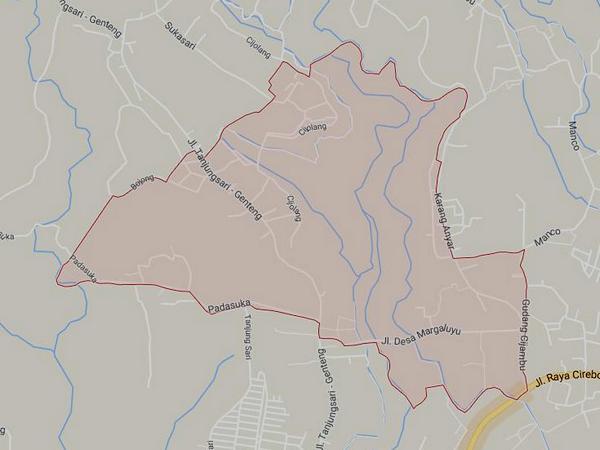 Peta wilayah Desa Margaluyu (gambar: Google Maps)