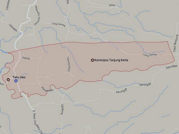 Peta wilayah Desa Mulyamekar (gambar: Google Maps)