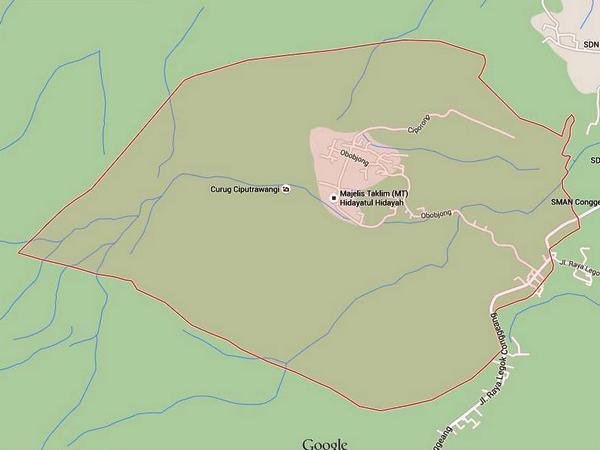 Peta wilayah Desa Narimbang (gambar oleh Google Maps)