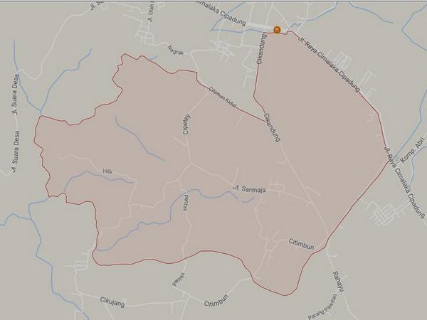 Peta wilayah Desa Nyalindung (gambar: Google Maps)