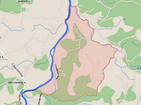 Peta wilayah Desa Padajaya (gambar dari Google Maps)