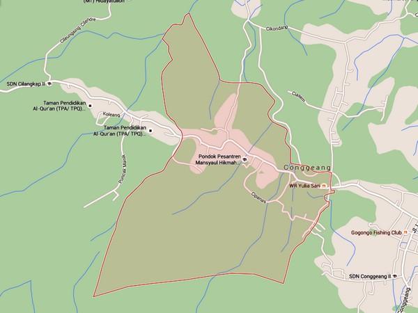 Peta wilayah Desa Sekarwangi (gambar oleh Google Maps)
