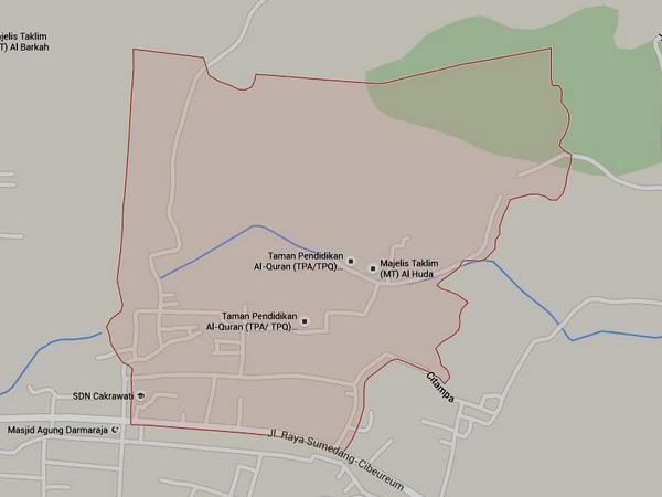 Peta wilayah DesaSukaratu (gambar: Google Maps)