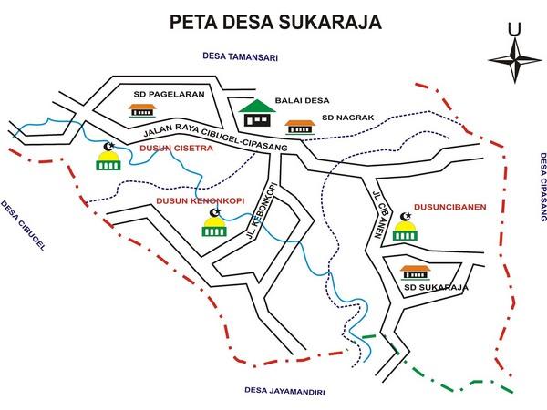 Peta wilayah Desa Sukaraja (gambar: Desa Sukaraja)