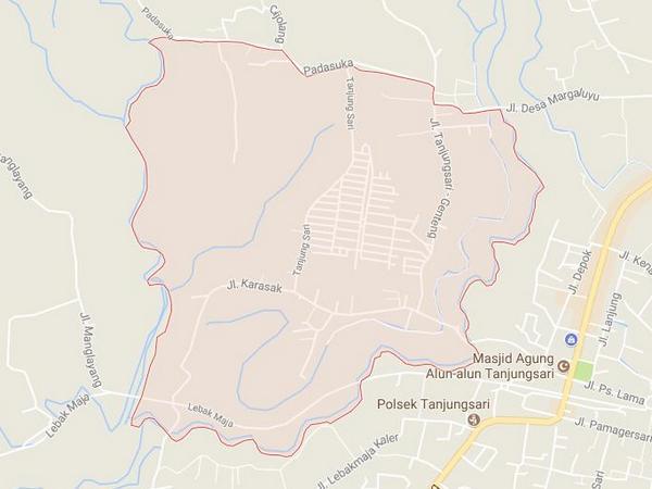 Peta wilayah Desa Sukarapih (gambar: Google Maps)