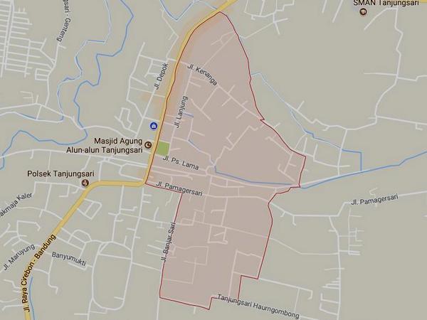 Peta wilayah Desa Tanjungsari (gambar: Google Maps)