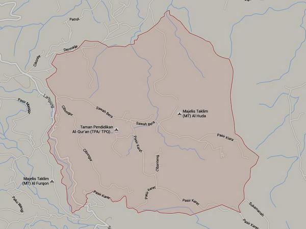 Peta wilayah Desa Cibungur (gambar: Google Maps)