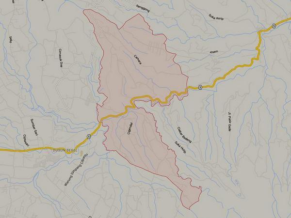Peta wilayah Desa Cigendel (gamabr: Google Maps)