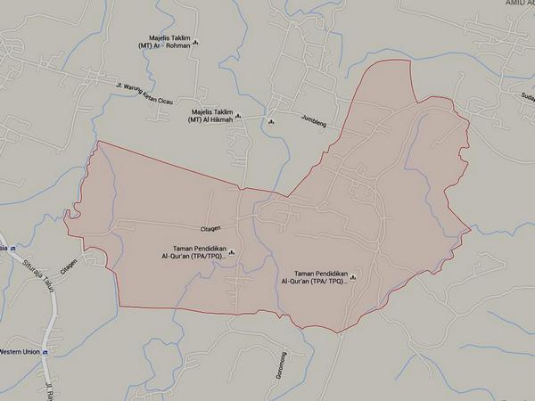 Peta wilayah Desa Cigintung (gambar: Google Maps)