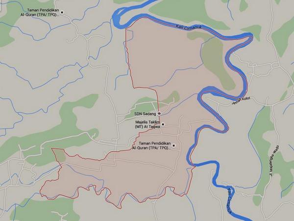 Peta wilayah Desa Cipaku (gambar: Google Maps)