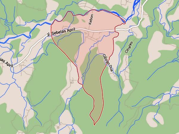 Peta wilayah Desa Ganeas (gambar oleh Google Maps)