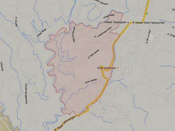 Peta wilayah Desa Kutamandiri (gambar: Google Maps)