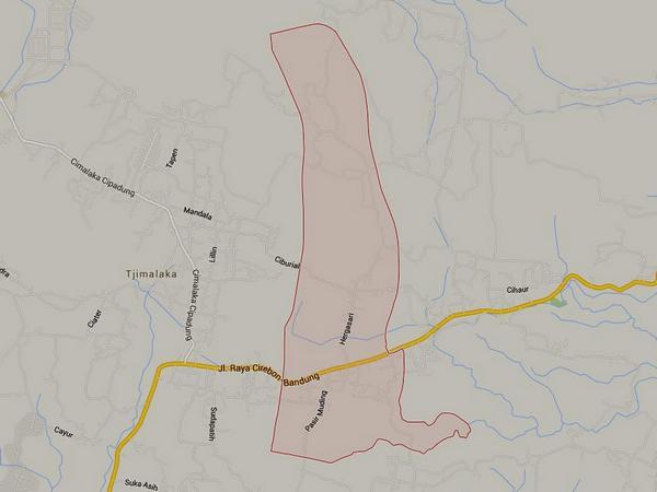 Peta wilayah Desa Mandalaherang (gambar: Google Maps)