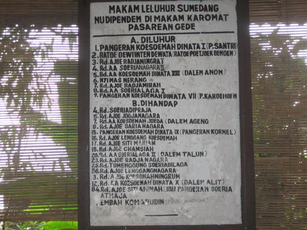 Daftar makam Pasarean Gede (sumber: baltyra.com)