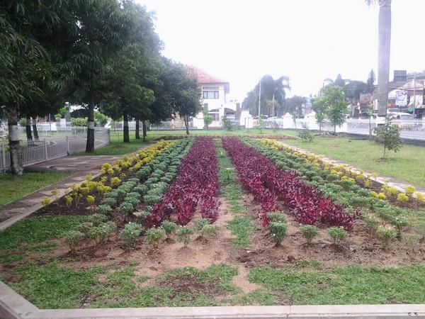 Taman bunga di salah satu sudut Alun-alun Sumedang