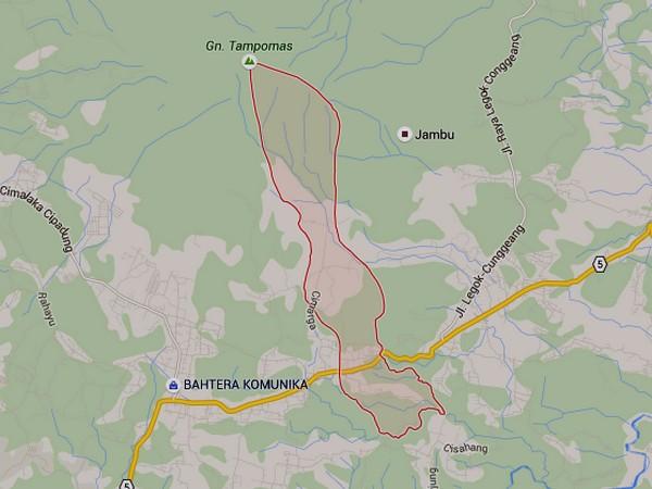 Wilayah Desa Cibeureum Wetan (gambar: Google Maps)
