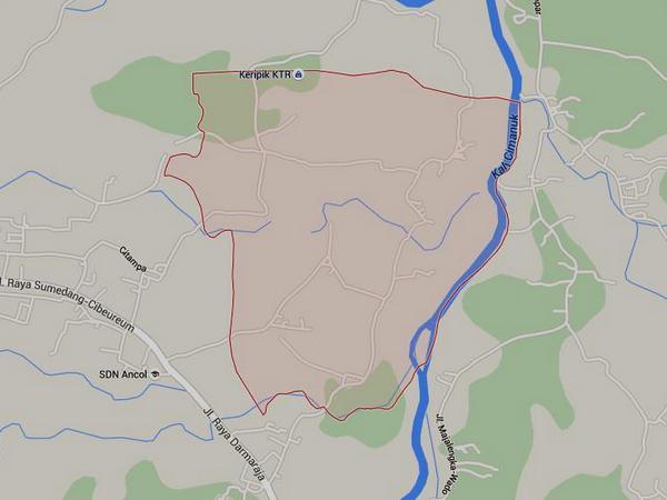 Peta wilayah Desa Leuwihideung (gambar dari Google Maps)
