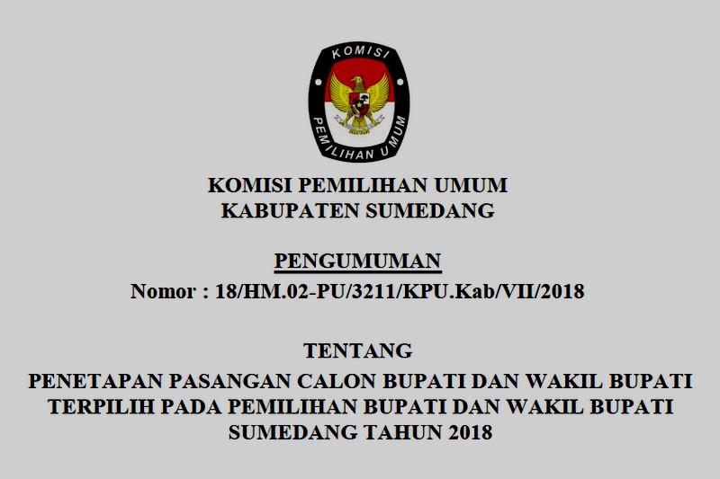 KPU Tetapkan Doamu-Esa Sebagai Pasangan Terpilih di Pemilukada Sumedang 2018