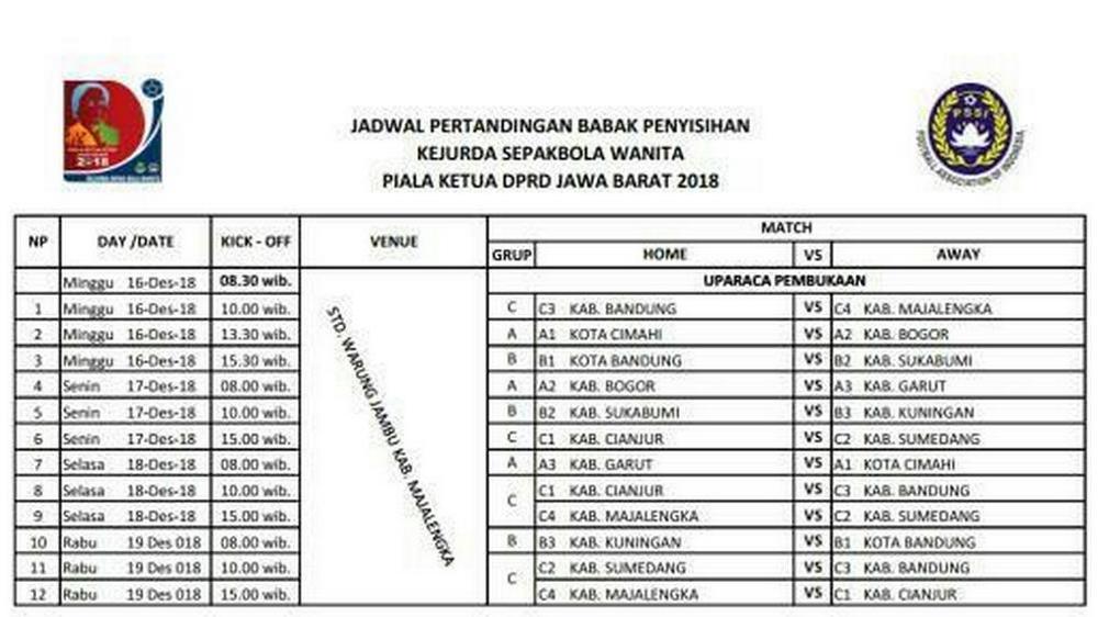 Jadwal Pertandingan Kejurda Sepak Bola Wanita Jabar 2018